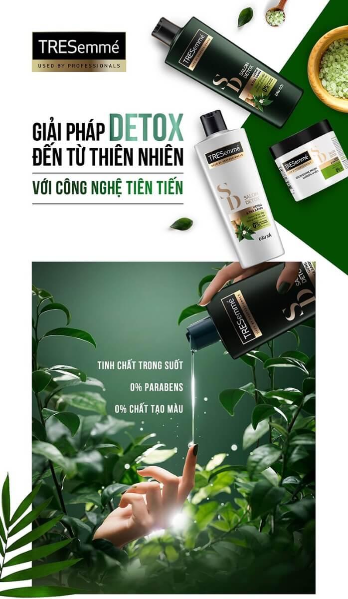 Dầu Gội TRESemmé Detox Tóc Chắc Khỏe Gừng & Trà Xanh (640g-850g)